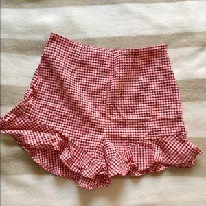 Zara Gingham red and white shorts